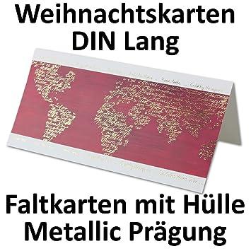 Exklusive Weihnachtskarten.100x Exklusive Weihnachtskarten Din Lang Faltkarten Weißer