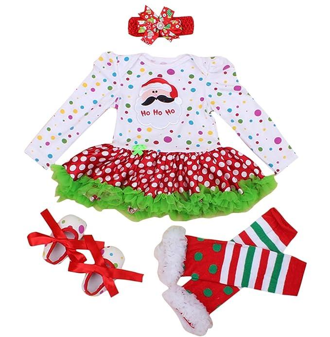 FEOYA - (juego de 4)Falda Bebés Tutú Niñas Vestido para Recién Nacidos  Puntos 6c9c602890c6