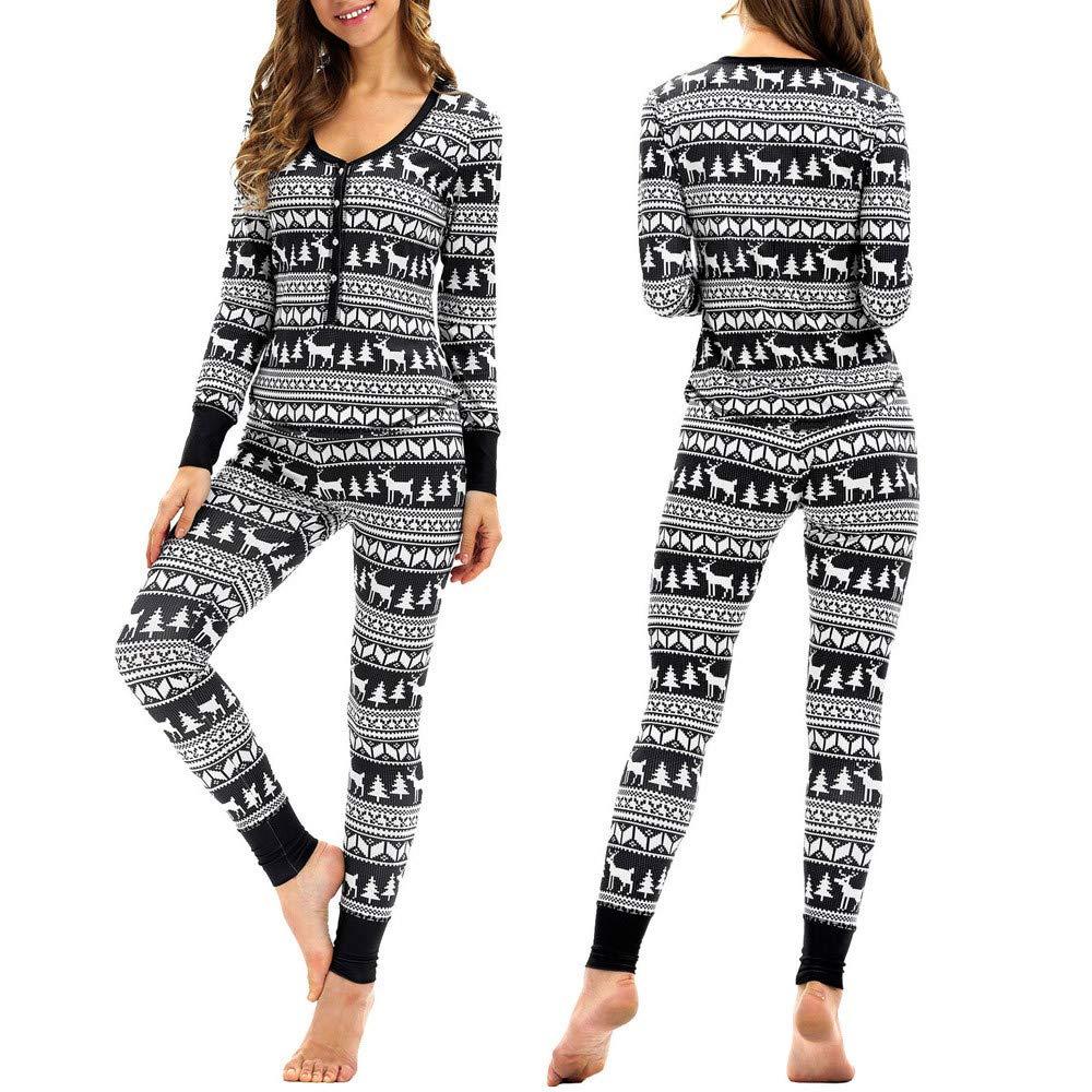 iHENGH Women Matching Elk Long Sleeves Christmas Pajamas Set Top Blouse+Pants
