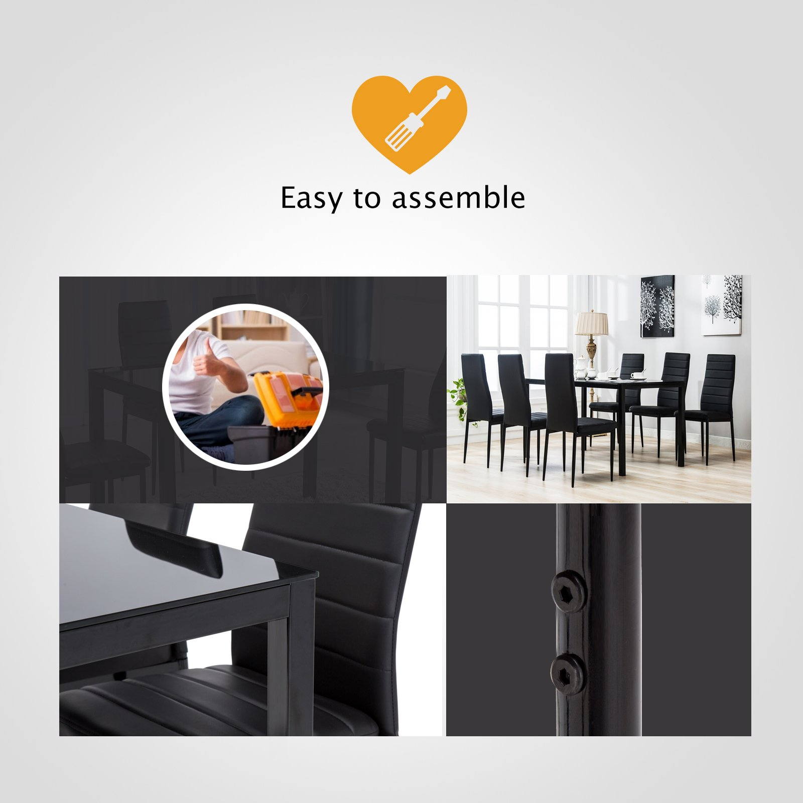 Mecor 7 Piece Kitchen Dining Set, Glass Top Table with 6 Leather Chairs Breakfast Furniture,Black by Mecor (Image #7)