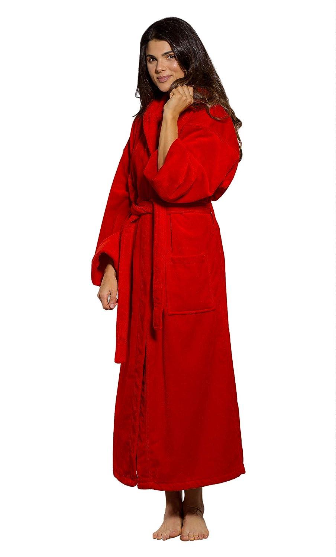 6857bfb652 100% Turkish Cotton Hooded Terry Velour Bathrobe Made in Turkey (One Size