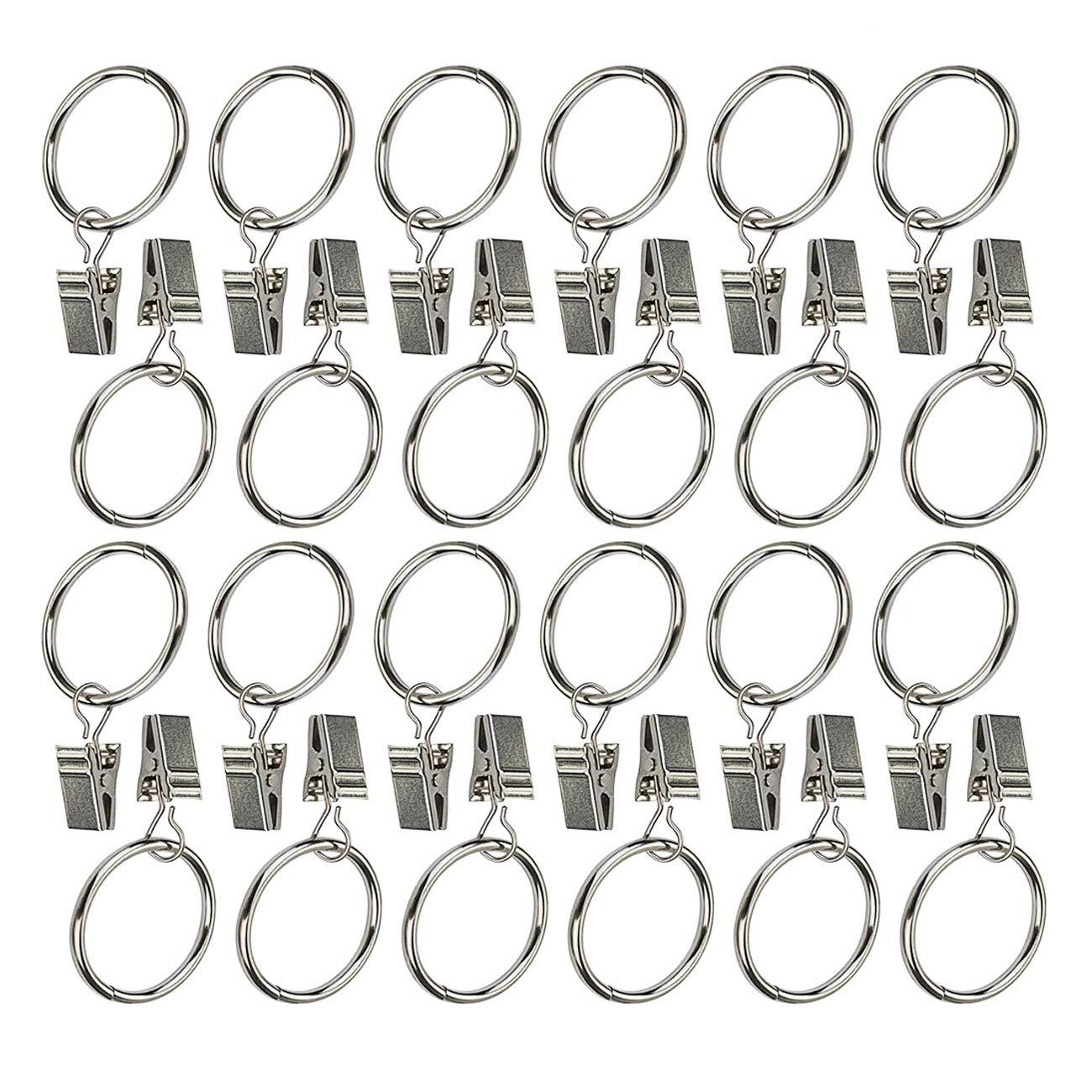 Ogrmar 24Pcs 1.5'' Nickel plating Metal Curtain Clip Rings (1.5'')