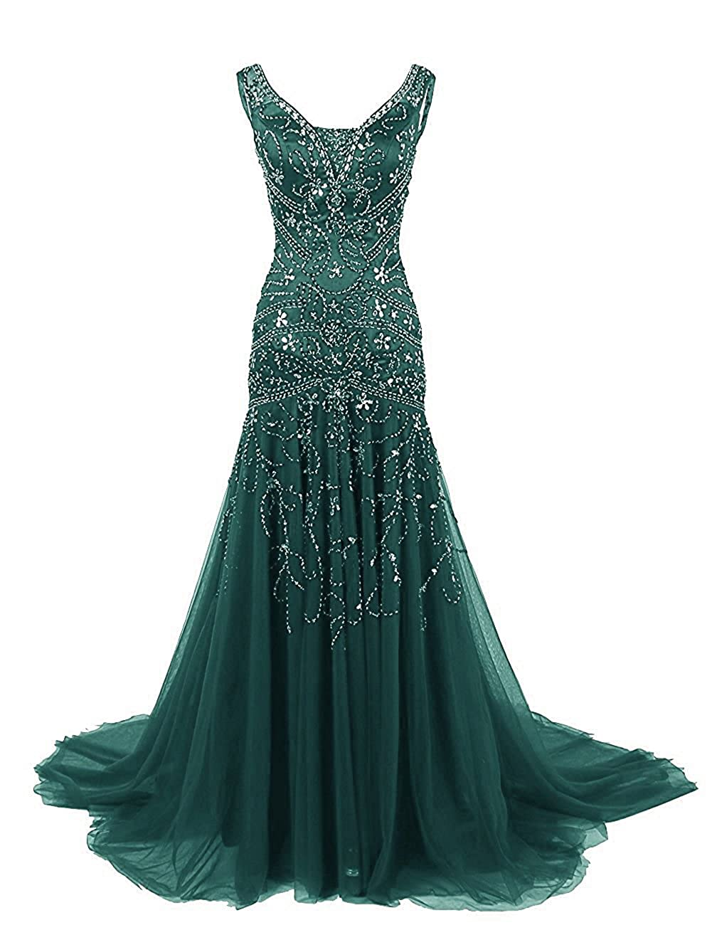 Dark Green Ellenhouse Women's Long Mermaid Mother of Bride Dress Beaded Prom Ball Gowns