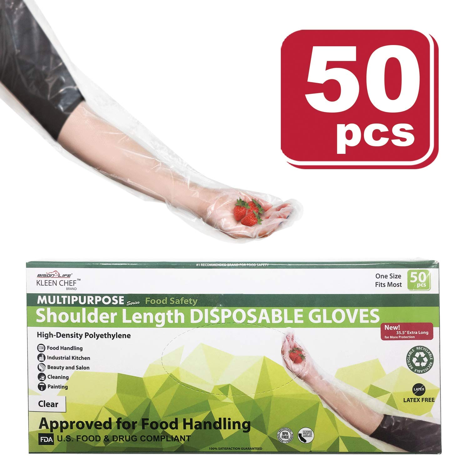 Disposable Food Handling Shoulder Length Poly Gloves - One Size Fits Most, 50 per box (1 box) by KLEEN CHEF (Image #5)