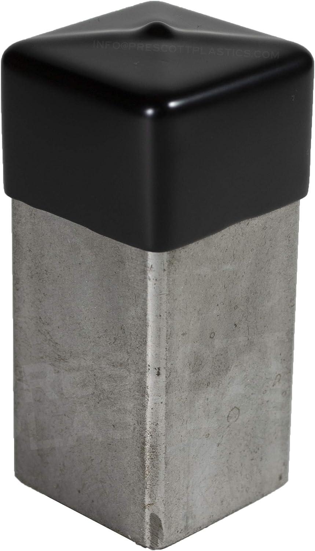 Pack of 4 Caps Flexible Pipe Post Rubber Cover A Prescott Plastics 1 1//4 Inch Square Black Vinyl End Cap