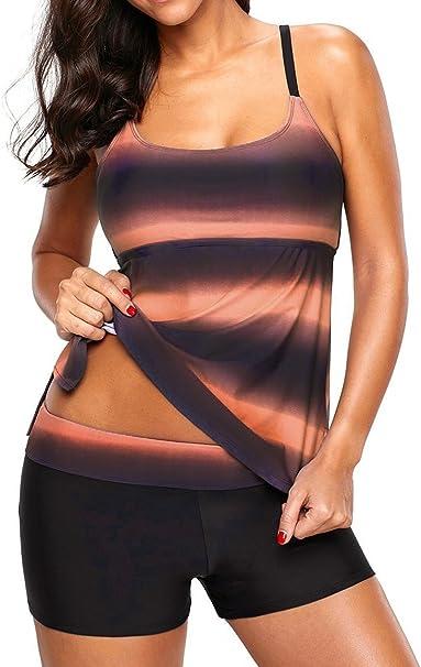 1eb8b44206783f Socluer Donna Costumi da bagno due pezzi Tankini Top Stripe Stampa Costumi  da bagno con pantaloncini: Amazon.it: Abbigliamento