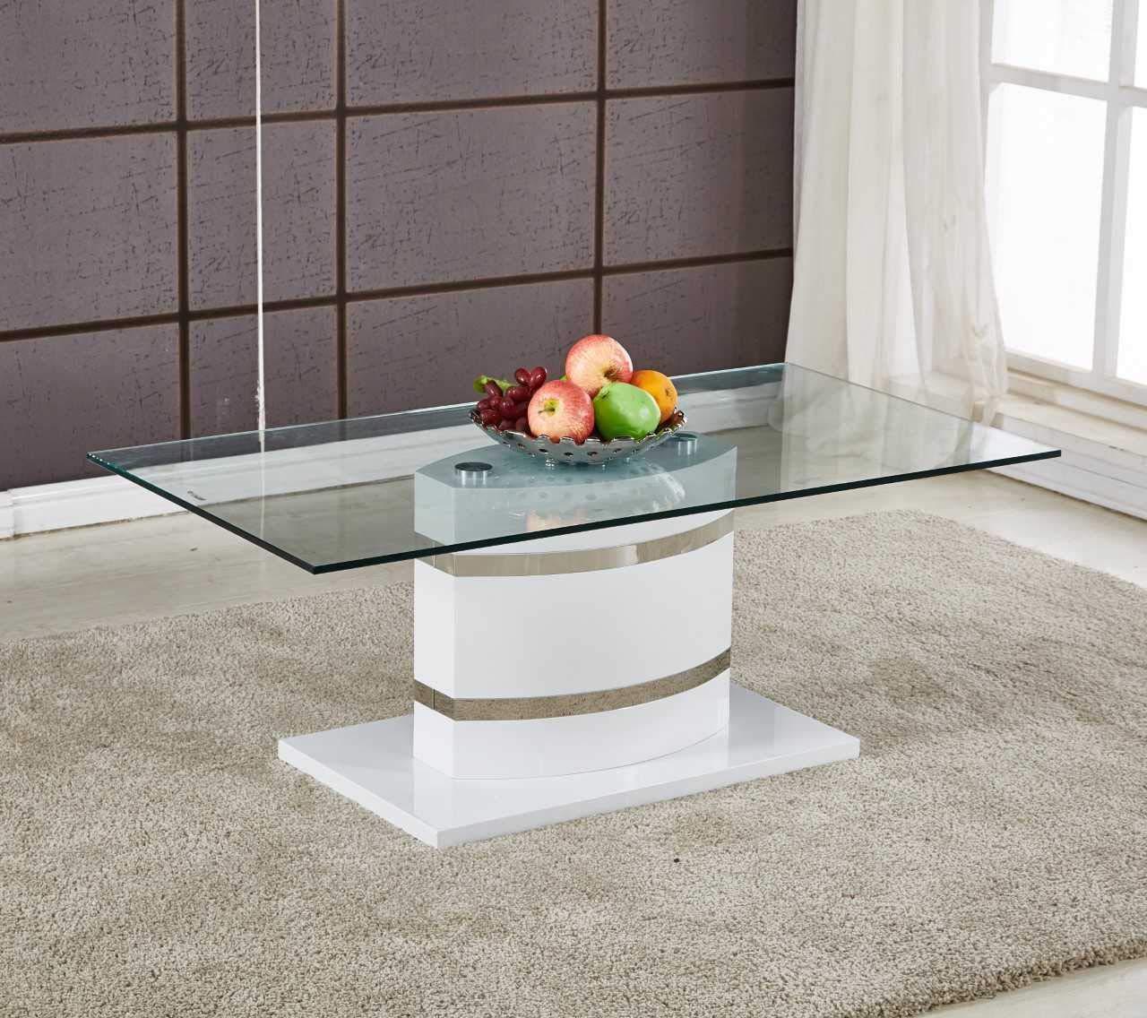 Portland Large Stylish White High Gloss And Chrome Glass Modern
