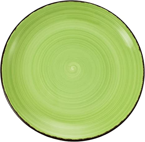 assiettes 1. Assiette plate verte Green dinner plate 2