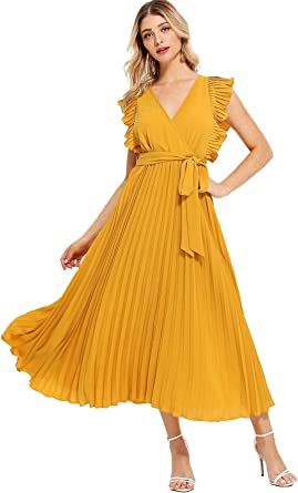Dresses for Women Solid Color Chiffon Mini Dress Sleeveless Plus Size Casual Party Wrap Sundress