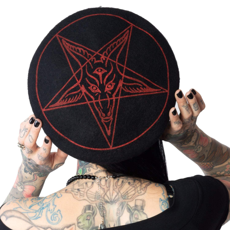 Kreepsville Bloody Baphomet 666 Beret Hat Black//red