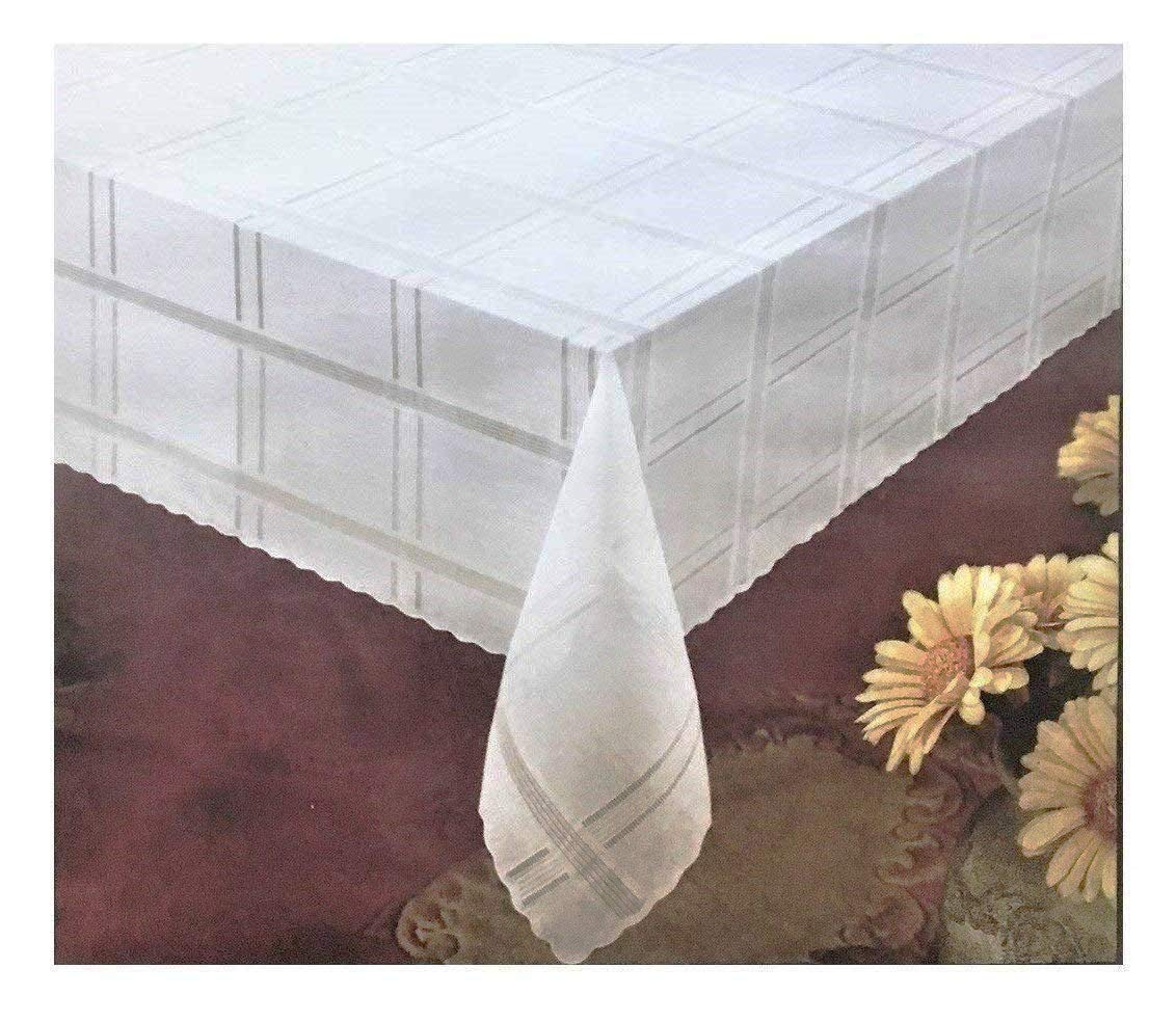 Better Home Fashion Lace Tablecloth Luxurious Premium Vinyl (60'' x 108'', White)