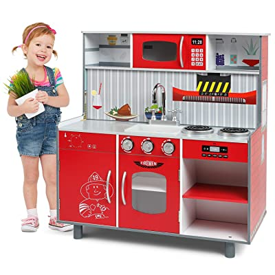 Lauraland 2 in 1 Play Kitchen & Fire Station Toy, Wooden Little Chef Pretend Play Kitchen Cooking Toy Set: Toys & Games