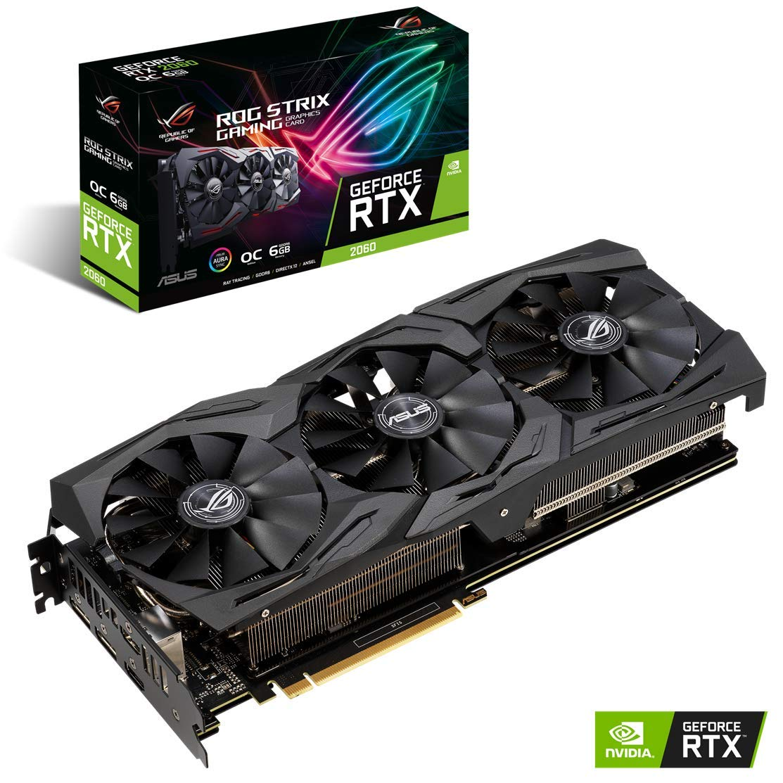 ASUS ROG STRIX GeForce RTX 2060 Overclocked 6G GDDR6 HDMI DP 1.4 Gaming Graphics Card (ROG-STRIX-RTX-2060-O6G)