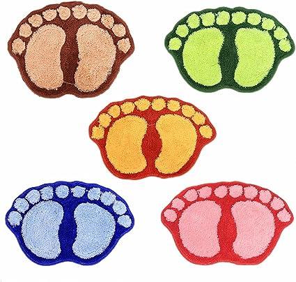 Smartcoco Cute Footprints Big Feet Bath Mats Bedroom//Kitchen//Bathroom Cartoon Style Water Suction Non-Slip Carpet Floor Blue 40X60CM
