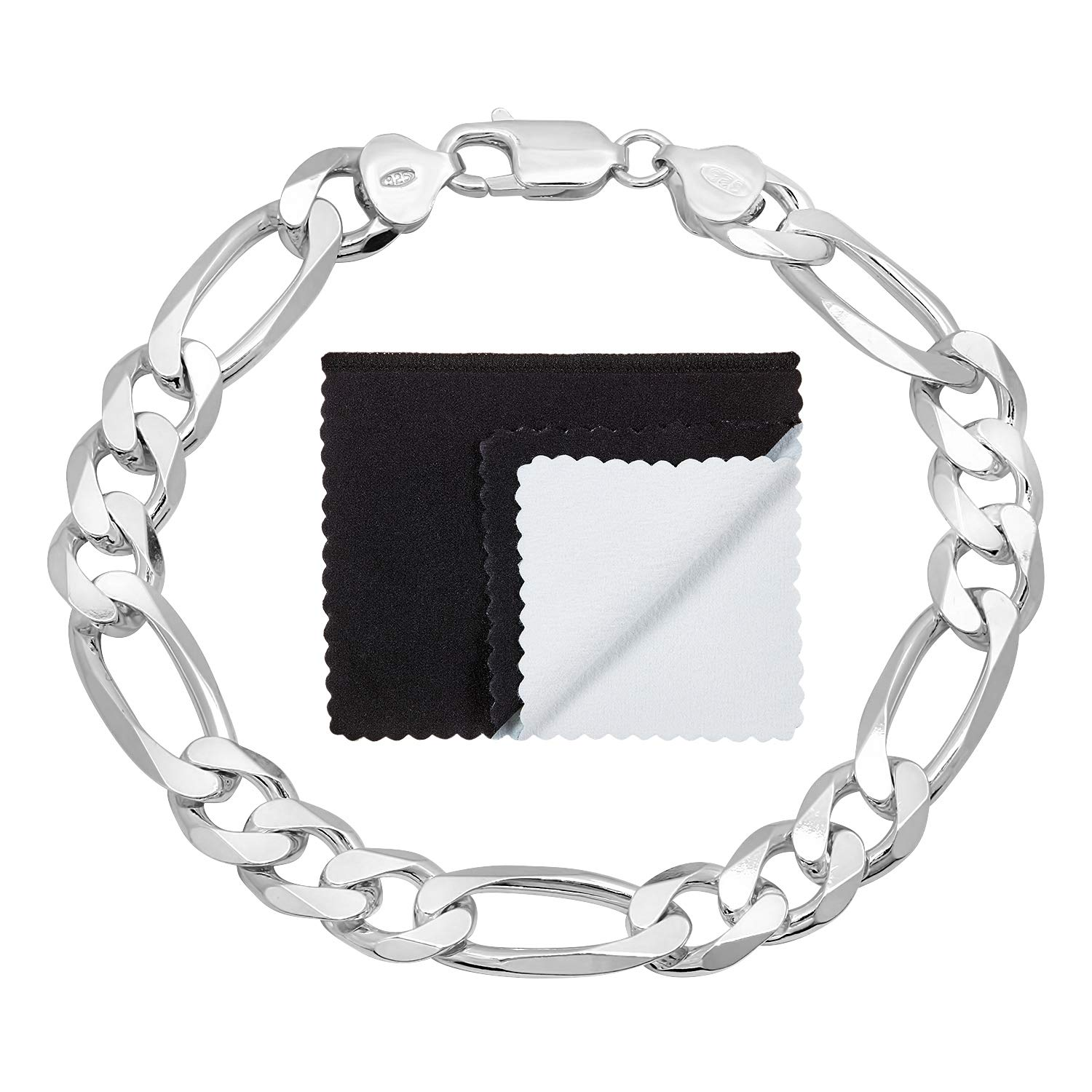 5mm High-Polished .925 Sterling Silver Flat Curb Chain Bracelet 7-11 Jewelry Cloth /& Pouch