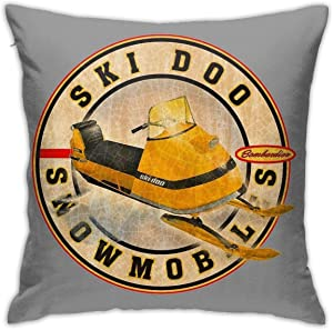 Vintage Ski-Doo Snowmobiles Bedroom Couch Sofa Throw Pillow Covers Home Decorative Square Pillow Case 18x18 Inch