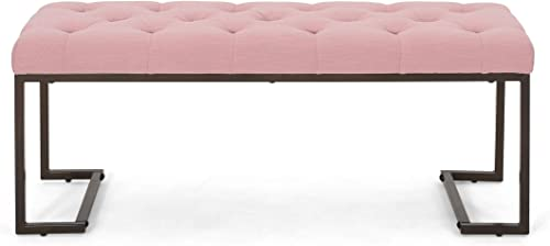 Great Deal Furniture Gladys Modern Fabric Bench, Dusty Rose and Bronze