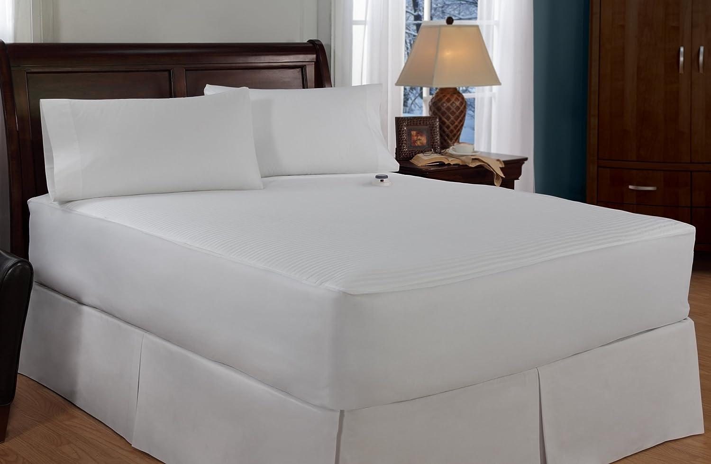 Amazon.com: Serta Damask Stripe 233 Thread Count Low Voltage Electric Heated  Queen Mattress Pad, White: Home U0026 Kitchen
