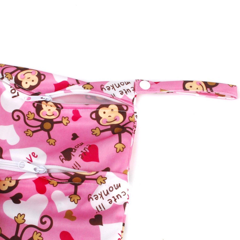 LAMEIDA Bolso impermeable del pa/ñal para la bolsa de asas del pa/ñal del cuidado del beb/é Impresi/ón linda del mono con la sola cremallera