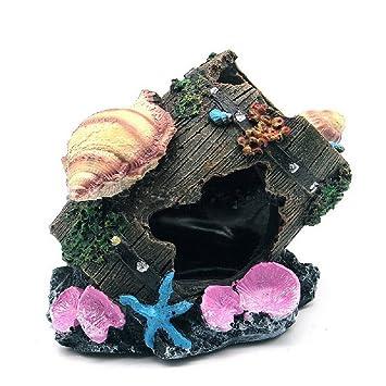 JUZIPI Decoración para Acuario con Cubo de Madera para Acuario, Decoración para peceras y Peces de Betta: Amazon.es: Productos para mascotas