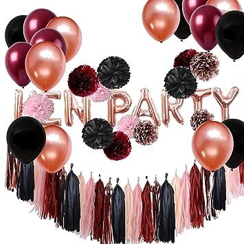 Amazon Com Burgundy Black Rose Gold Hen Party Balloons Tissue Paper