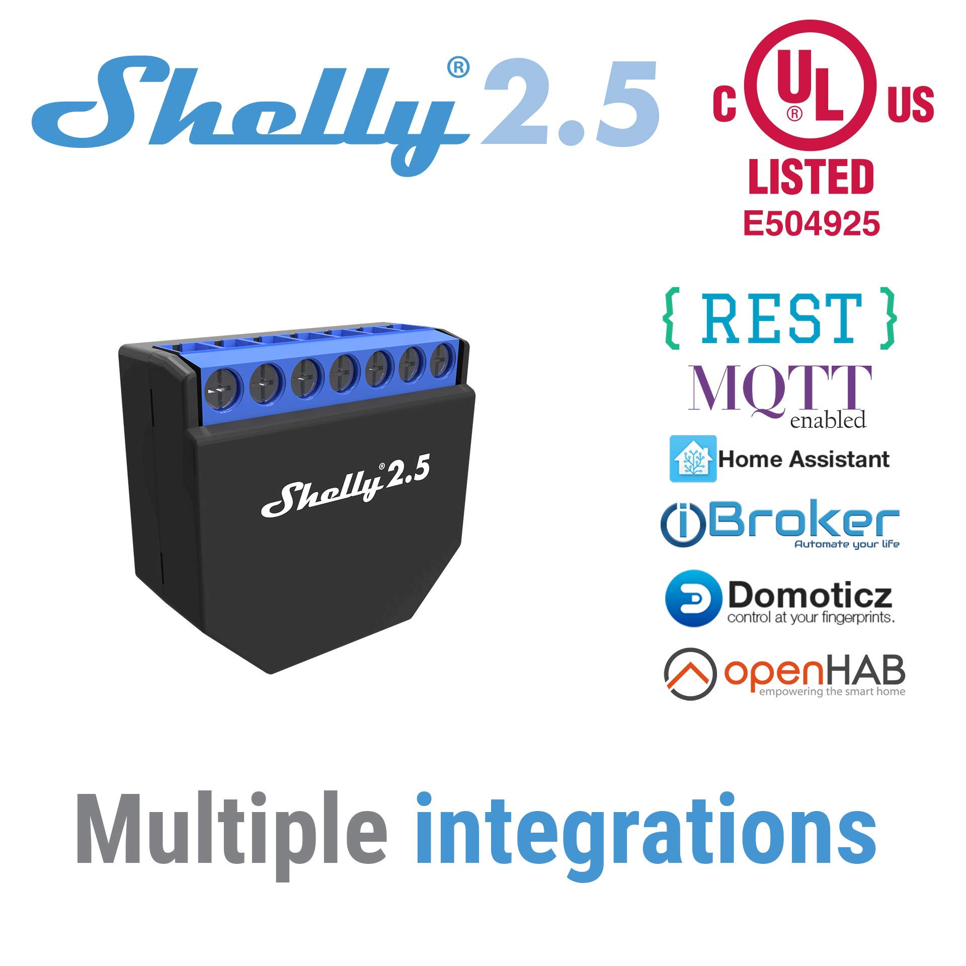 Shelly 2.5 Double Relay Switch and Roller Shutter WiFi Open Source Wireless Home Automation Dual Power Metering iOS Android Application (1 Pack) +UL Certificate