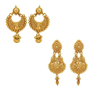 YouBella Jewellery Gold Plated Combo Of Earrings For Women Traditional Girls
