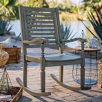 Belham Living Cottonwood Indoor/Outdoor Wood Rocking Chair   Gray