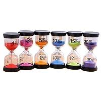 Gosear 6pcs Sablier Sand Clock Timer Sabliers 1/3/ 5/10/ 15/30/ Mins pour Le Jeu de Classe Home Office Décoration Couleurs Aléatoires