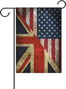alaza Double Sided USA United Kingdom Friendship Combination A Memorial Day Polyester Garden Flag Banner 12 x 18 Inch for Outdoor Home Garden Flower Pot Decor