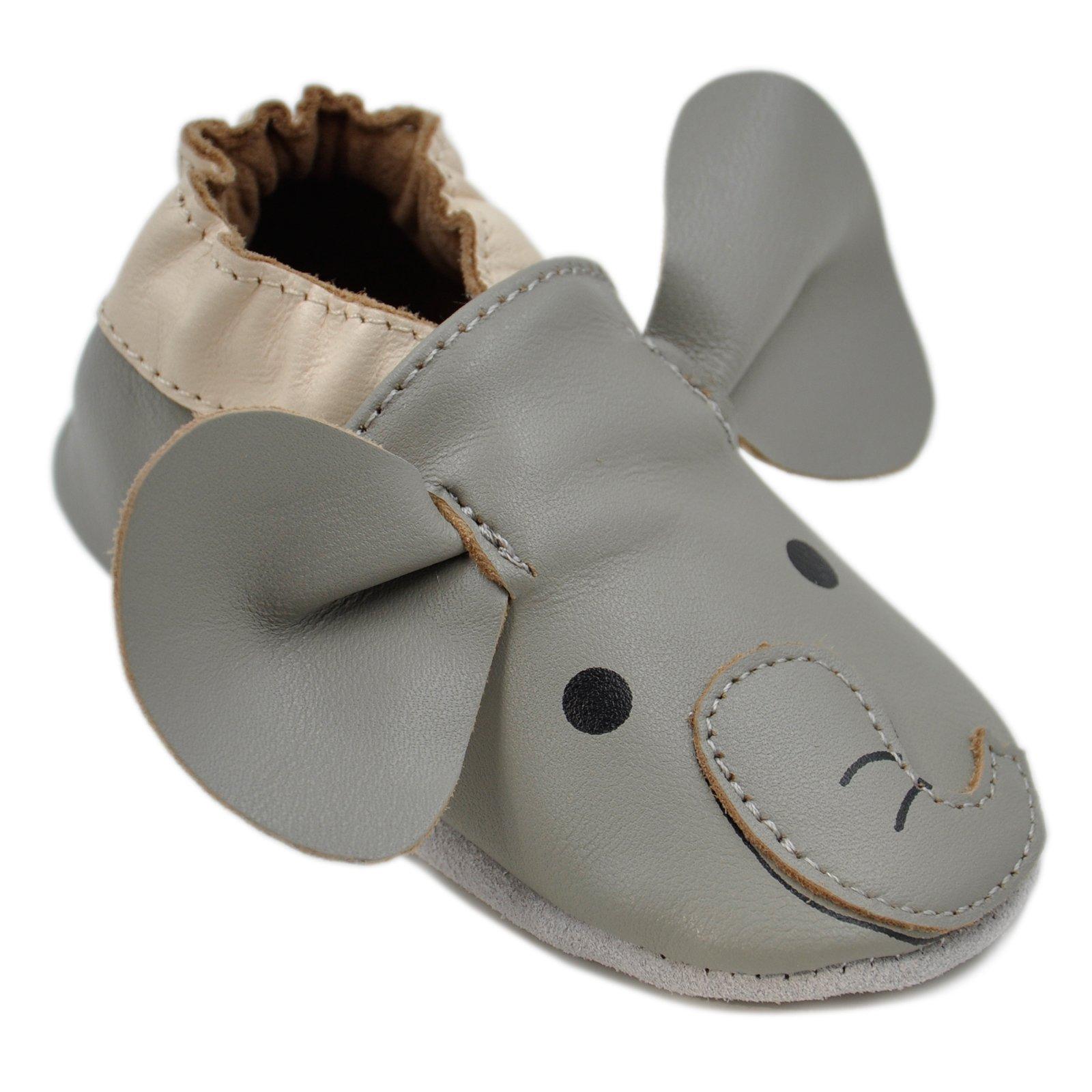 Kimi + Kai Baby Unisex Lambskin Leather Soft Sole Shoes - Elephant (6-12 Months) Grey by Kimi & Kai