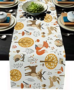 Table Runner 108 Inches Long for Dining Coffee Table, Autumn Theme Owl Fox Elk Hedgehog, Burlap Rectangle Table Cloth Decor Dress Scarf Birthday Wedding Holiday Party, 13''x 108''