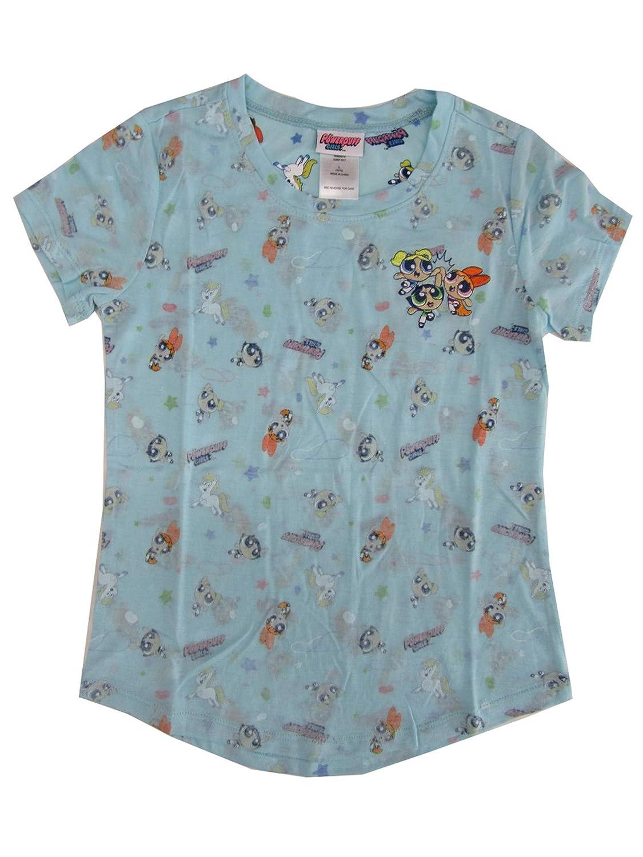 Power Puff Big Girls Blue Cartoon Inspired Print Short Sleeve T-Shirt 7-16