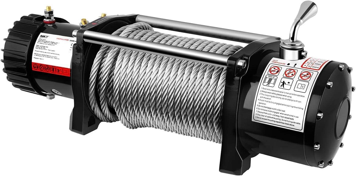 Fuerza de tracci/ón: 6.136 kg // 13.500 lbs, Motor de imanes permanentes, 26 m Cable, Dimensiones del tambor: /Ø 40 mm, incl. polea de reenv/ío MSW Cabrestante Todoterreno PROPULLATOR 13500-A