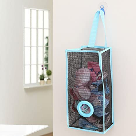 freeas bolsas de plástico de montaje en pared soporte para colgar bolsa de la compra recipiente dispensador de malla de ahorro de bolsa de la compra ...