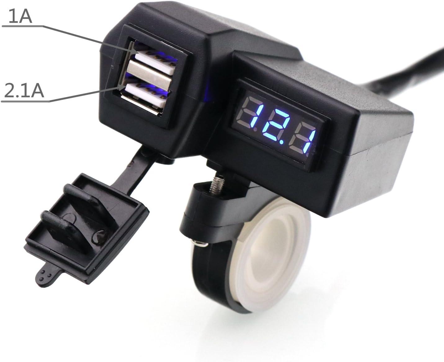 Timloon Cargador de Motocicleta Impermeable 5 V 3,1 A Dual USB y volt/ímetro de Pantalla Azul para Montaje en Manillar DE 7//8 y 1