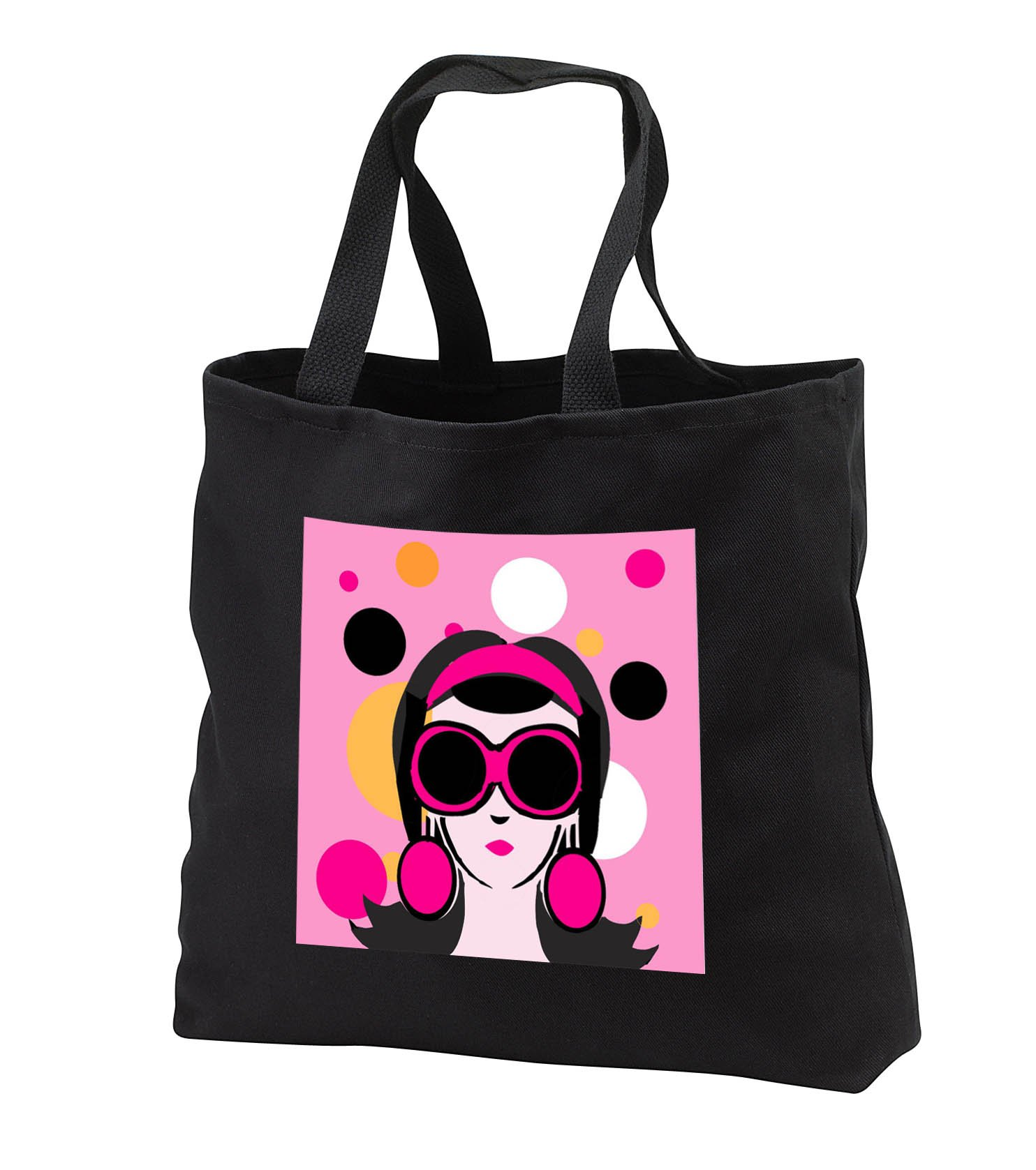 TNMGraphics Pop Art - Pop Mod Girl Pink and Black Big Sunglasses - Tote Bags - Black Tote Bag 14w x 14h x 3d (tb_286302_1)