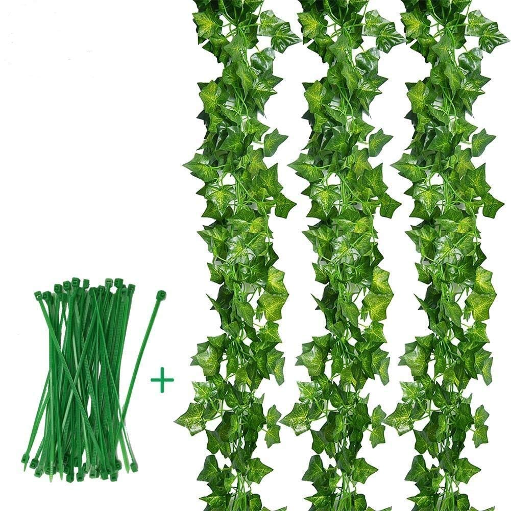 Aibesser 12 Pack&2.2M Artificial Ivy Leaf Garland Plastic Plant Vine For Decorations