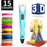 eXuby 3D Pen w/ 15 PLA Filament (150 Feet) - Free Stand - Perfect for Kids & Adults - Best 3D Printing Pen Starter Kit - Easy Loading - LCD Screen - Heats Quickly