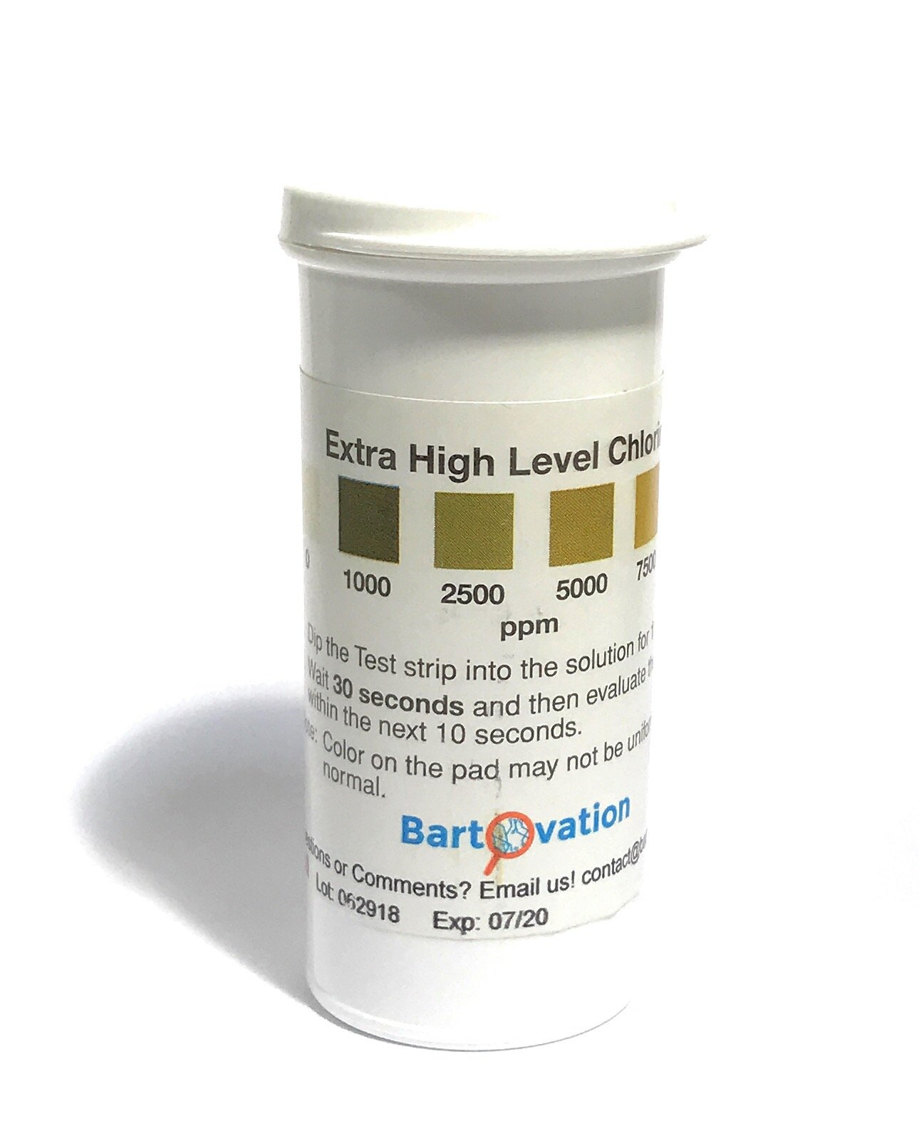 Extra High-Level Chlorine Test Strips, 0-10,000 ppm [Vial of 100 Strips] by Bartovation