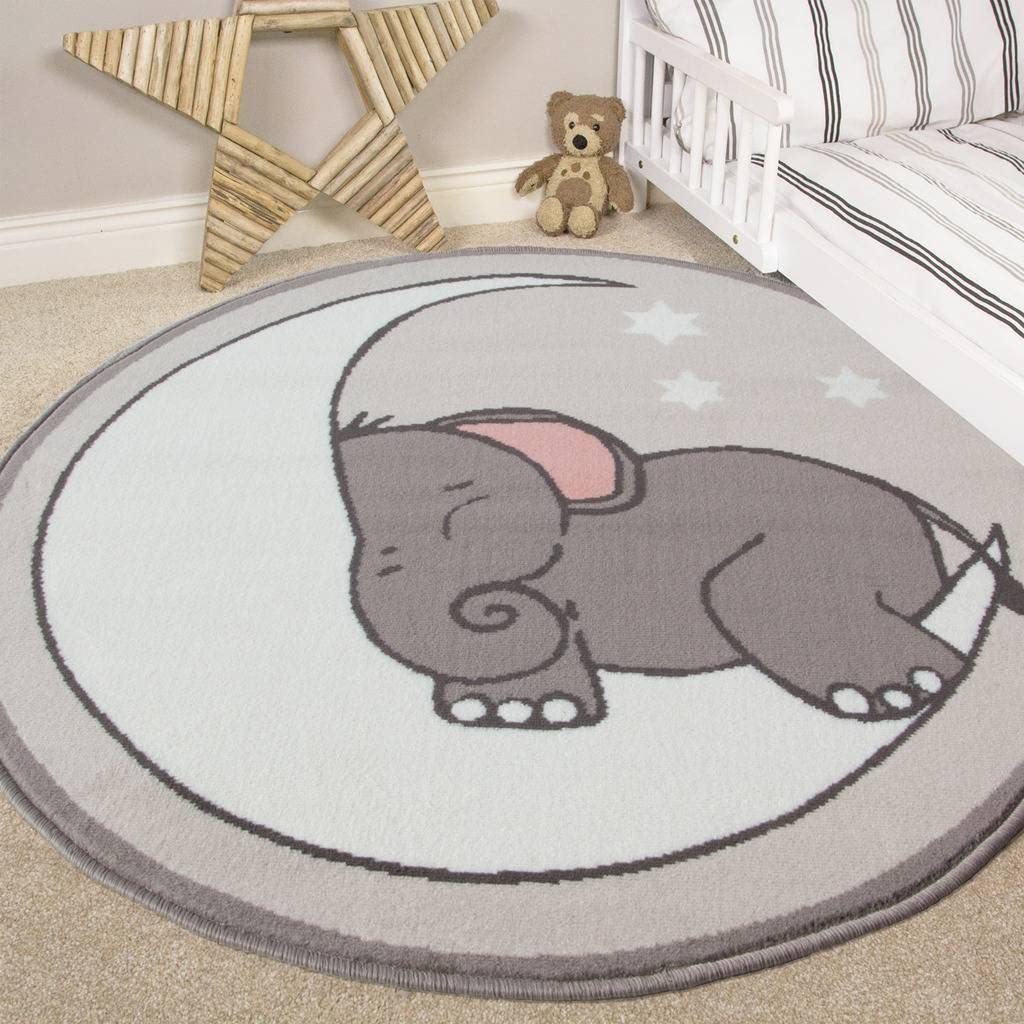 Nursery Style Elephant, Moon and Stars Kids Baby - Rugs for Baby Nursery