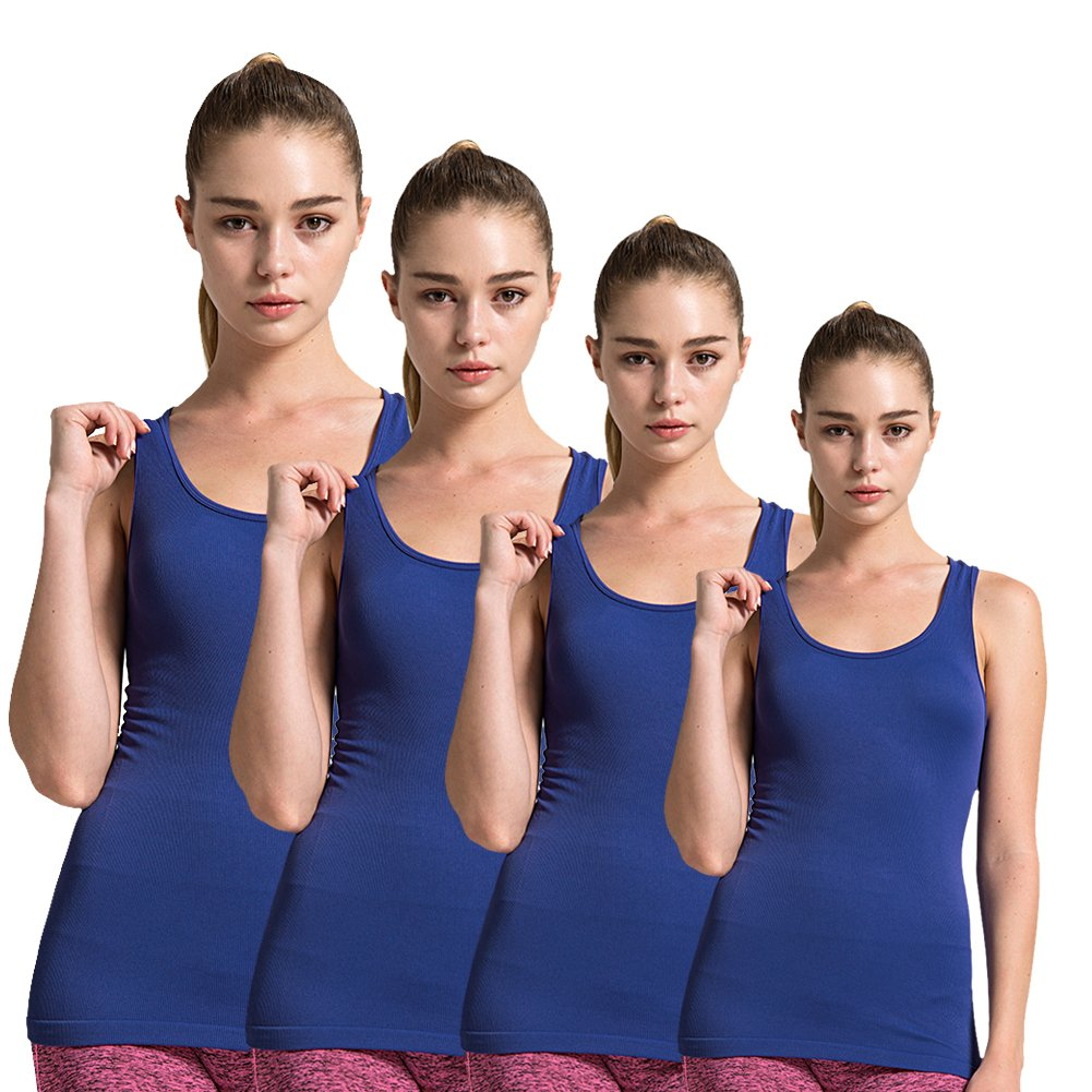 Semath Women's Comfort Layering Cami Yoga Workout Stretchy Camisole Tank Top, Dark Blue, Small, 4 pack