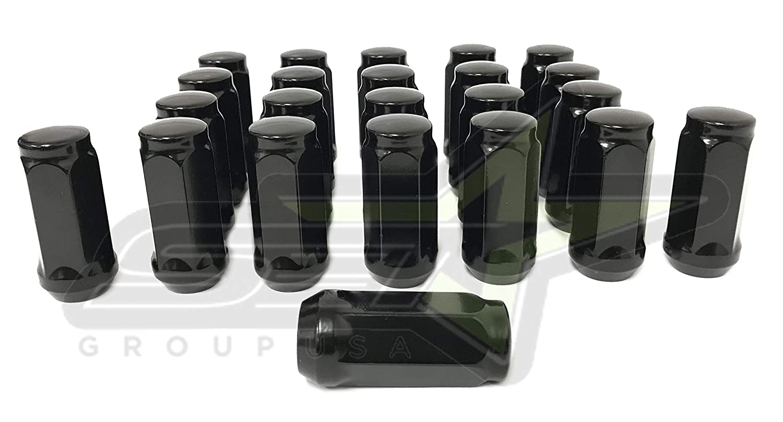 1//2-20 Tall Black Lug Nuts 1.9 Tall 3//4 or 19mm Hex 23 1//2-20 XL Bulge Acorn Black Lug Nuts