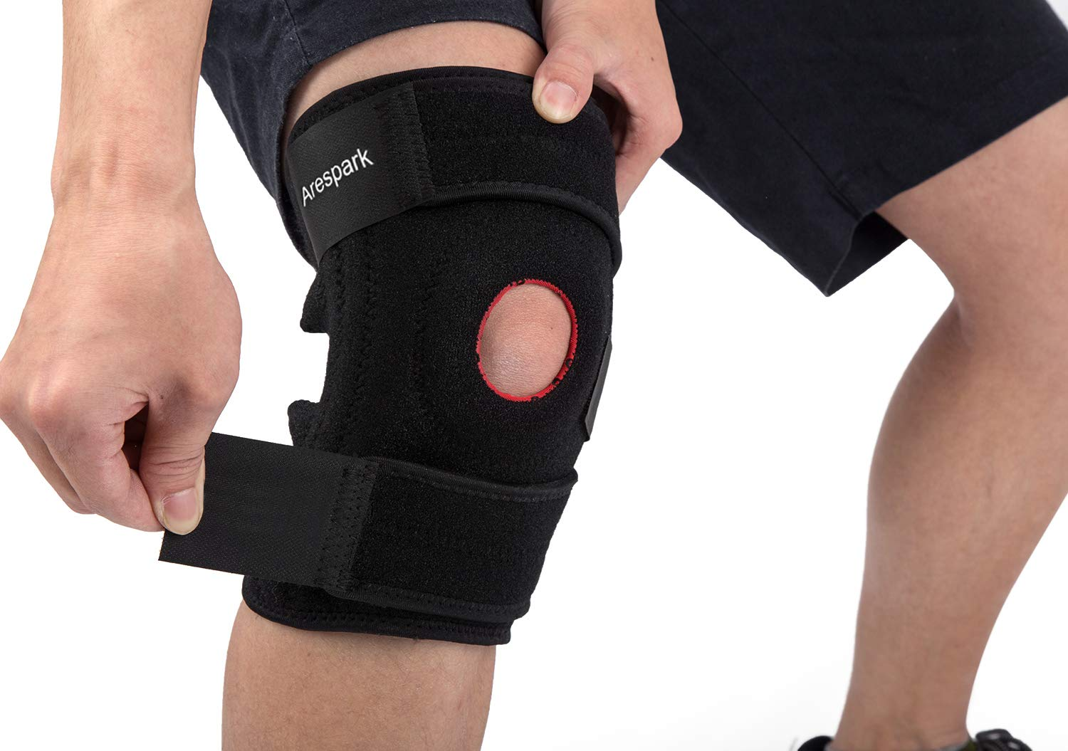 398f5ea066 Knee Brace Support, Arespark Breathable Knee Stabilizer & Elastic  Compression for Knee Stability & Recovery Aid, Neoprene Open Patellar Dual  Stabilizers ...