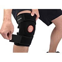 Knee Brace Support, Arespark Breathable Knee Stabilizer & Elastic Compression for Knee Stability & Recovery Aid, Neoprene Open Patellar Dual Stabilizers with Adjustable Veclro - Best for Strains Sprains Pain Relief Rehab Arthritis ACL Meniscus Running Basketball Workout - Black