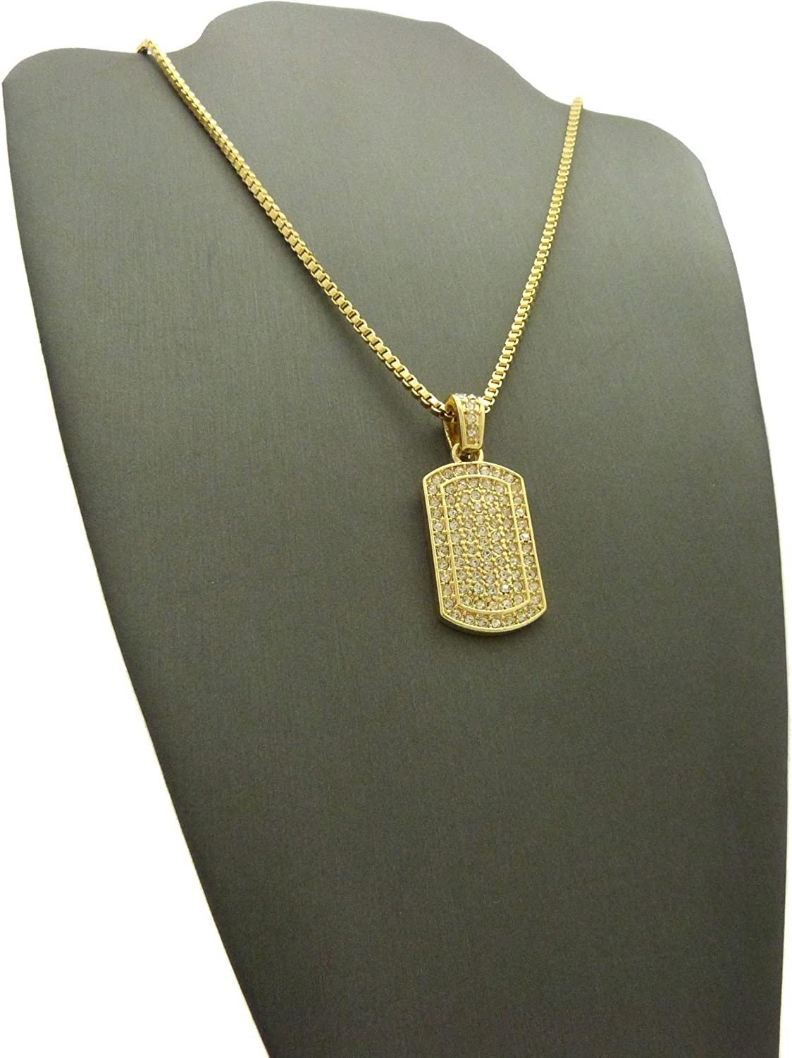 ICED OUT DOG TAG PENDANT /&2mm//24 BOX CHAIN HIP HOP NECKLACE XGP17BXG