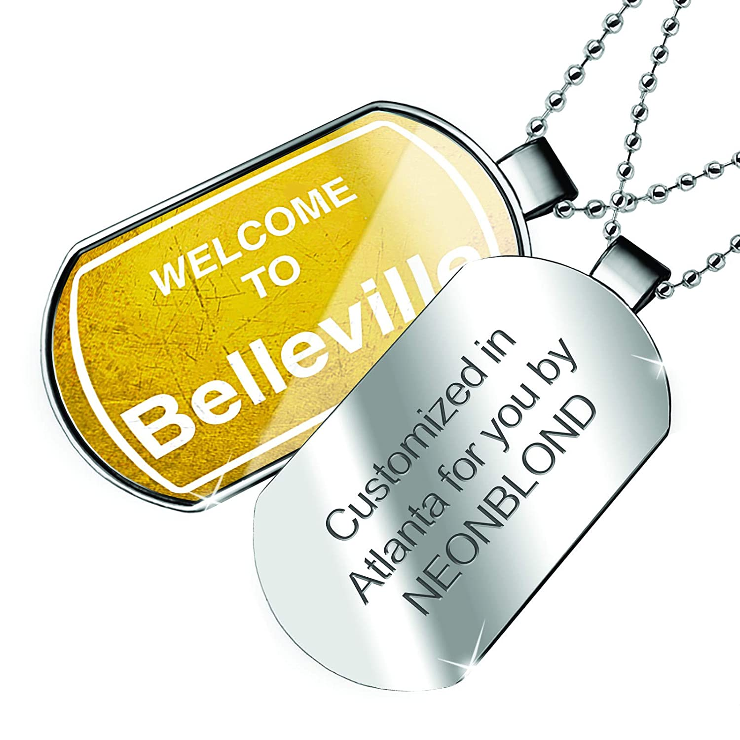NEONBLOND Personalized Name Engraved Yellow Road Sign Welcome to Belleville Dogtag Necklace