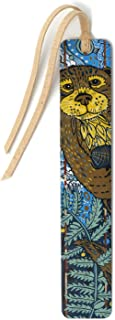 product image for Personalized Otter - Woodcut Art by Jenny Pope - Handmade Wooden Bookmark with Suede Tassel - Search B07P9XGZQP for Non-Personalized Version