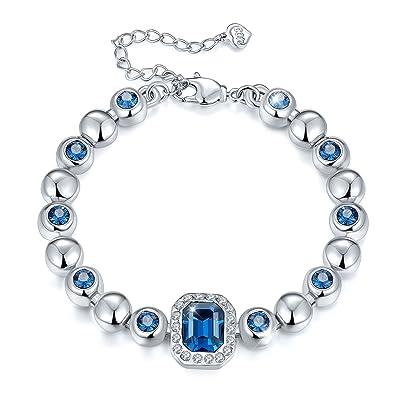 "604b8781c6 T400 Jewelers Love in Danube Navy Blue Swarovski Elements Crystal Tennis  Bracelet, 5.5""+"