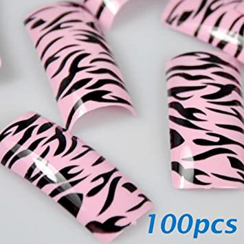 Amazon Com 100 Black Pink Zebra Style French False Nail Tips Beauty